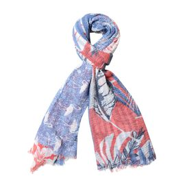 Navy and Multi Colour Bird and Leaf Pattern Scarf (88.9x177.8 Cm)
