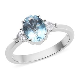RHAPSODY 1.25 Ct AAAA Santa Maria Aquamarine and Diamond Solitaire Ring in 950 Platinum VS EF