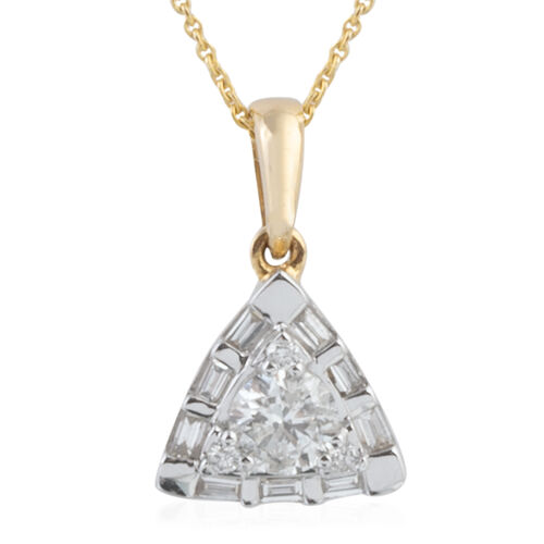 New York Close Out 14K Y Gold Diamond (Rnd and Bgt) (I1-I2) Pendant with Chain 0.330 Ct.