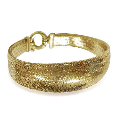 9K Yellow Gold Domed Graduated Omega Bracelet (Size 7.5), Gold wt 10.28 Gms.