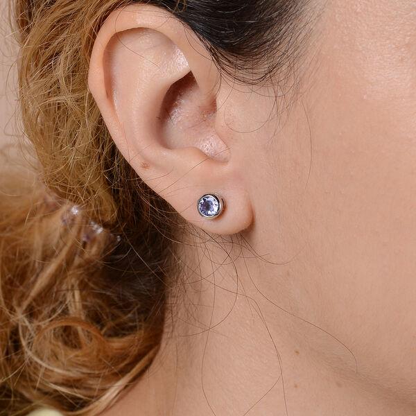 Tanzanite Stud Earrings in Rhodium Overlay Sterling Silver 1.00 Ct.