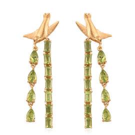 AA Hebei Peridot Dangle Earrings in 14K Gold Overlay Sterling Silver 9.00 Ct, Silver wt 7.00 Gms