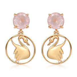 Rose Quartz Earrings (with Push Back) in 14K Gold Overlay Sterling Silver 3.50 Ct.
