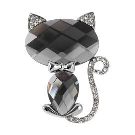 Simulated Grey Spinel (Ovl 30x19), White Austrian Crystal Kitty Brooch