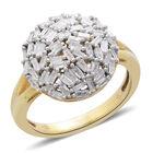 Diamond (Bgt) Cluster Ring (Size V) in 14K Gold Overlay Sterling Silver 0.500 Ct.
