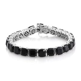Black Tourmaline (Cush) Bracelet (Size 7.75) in Platinum Overlay Sterling Silver 58.000 Ct.