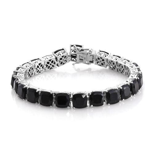 Black Tourmaline (Cush) Bracelet (Size 7.75) in Platinum Overlay Sterling Silver 58.000 Ct.