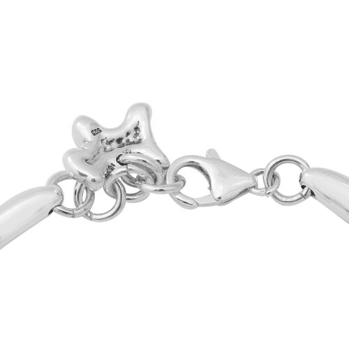 One Time Close Out Deal- Sterling Silver Adjustable Bracelet (Size 6.5 with 0.5 inch Extender) with Charm & Lobster Clasp, Silver wt 16.78 Gms