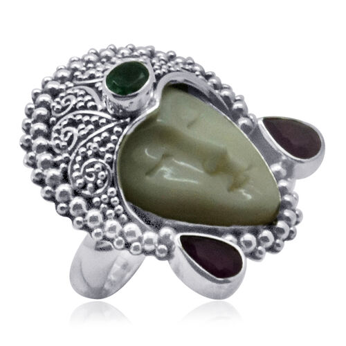 Princess Bali OX Bone Carved Face, Ruby And Emerald Vintage Style Silver Ring