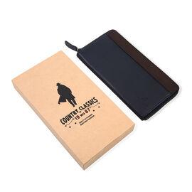MCS Country Classics: 100% Genuine Leather Full Zip Two Tone Ladies Purse - Dark Blue/Dark Brown