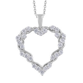 J Francis - Platinum Overlay Sterling Silver (Rnd) Heart Pendant With Chain (Size 18) Made With SWAR