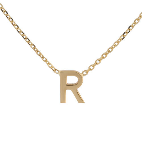 Hatton Garden Close Out - 9K Yellow Gold Initial R Necklace (Size 15 with 2 Inch Extender)