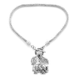 Royal Bali Collection - Sterling Silver Tulang Naga Bracelet (Size 8) with Leaves and Elephant Charm