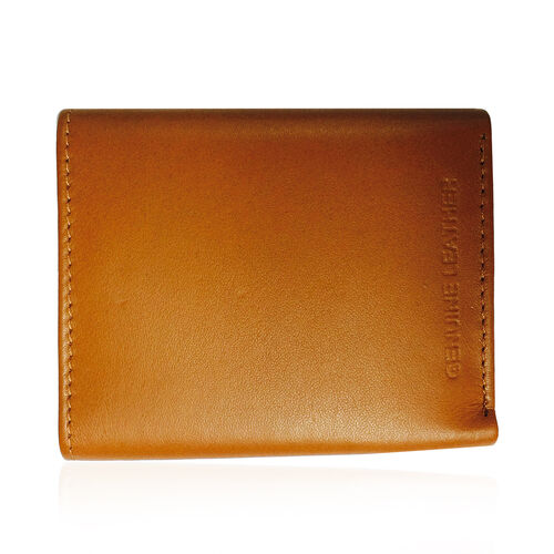 Genuine Leather RFID Blocker Tan Colour Tri-Fold Men Wallet with Card Holder (Size 10x9 Cm)
