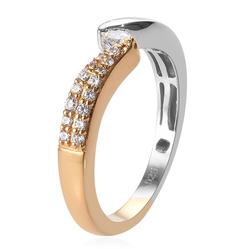 J Francis - Platinum and Yellow Gold Overlay Sterling Silver Ring Made with SWAROVSKI ZIRCONIA