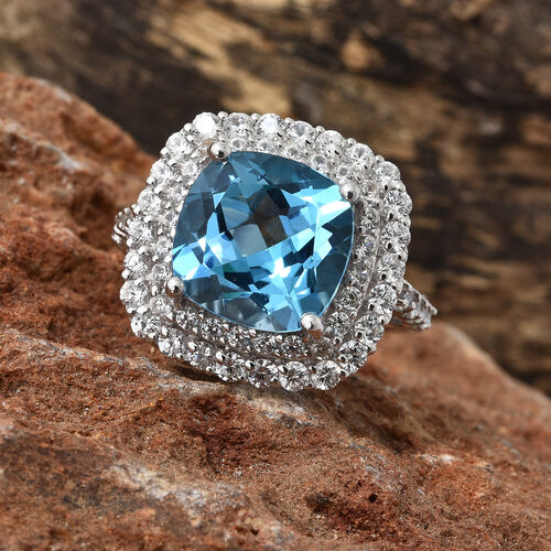 TJC Launch - Marambaia Topaz (Cush 10.70 Ct), Natural Cambodian Zircon Ring in Platinum Overlay Sterling Silver 13.750 Ct. Silver wt 6.80 Gms.