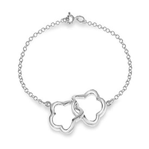Double Flower Link Bracelet in Sterling Silver 7.5 Inch