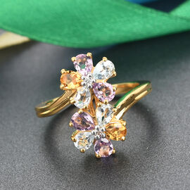 GP Italian Garden Leaf and Flower - Pink Amethyst, Citrine and Multi Gemstone Bypass Floral Ring in 14K Gold Overlay Sterling Silver 2.01 Ct.