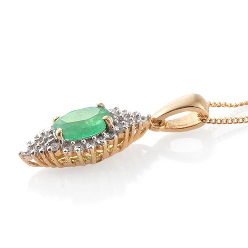 Kagem Zambian Emerald (Ovl 1.35 Ct), Natural Cambodian Zircon Pendant with Chain (Size 18) in 14K Gold Overlay Sterling Silver 1.750 Ct.