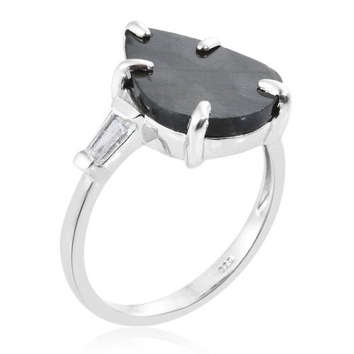 Spectrolite (Pear 4.50 Ct), White Topaz Ring in Platinum Overlay Sterling Silver 5.000 Ct.