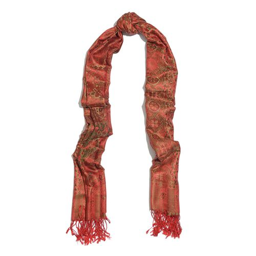 SILK MARK - 100% Superfine Silk Red, Green and Multi Colour Paisley Pattern Jacquard Jamawar Scarf with Fringes at the Bottom (Size 180x70 Cm) (Weight 125 - 140 Gms)