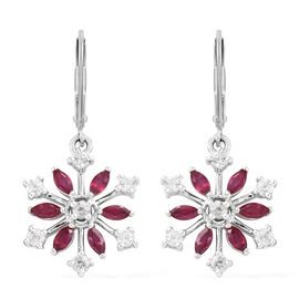 African Ruby (1.25 Ct),Cambodian Zircon Platinum Overlay Sterling Silver Earring  2.150  Ct.