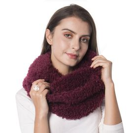 Wine Colour Faux Sherpa Infinity Scarf (Size 150x20 Cm)