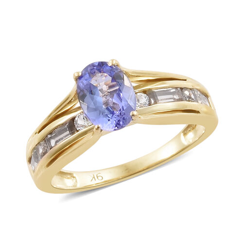 1.75 Ct Tanzanite and Cambodian Zircon Solitaire Design Ring in 9K Gold 3.06 Grams