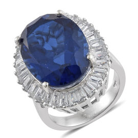 16.75 Ct Twilight Quartz and Zircon Halo Ring in Platinum Plated Silver 6.82 Grams