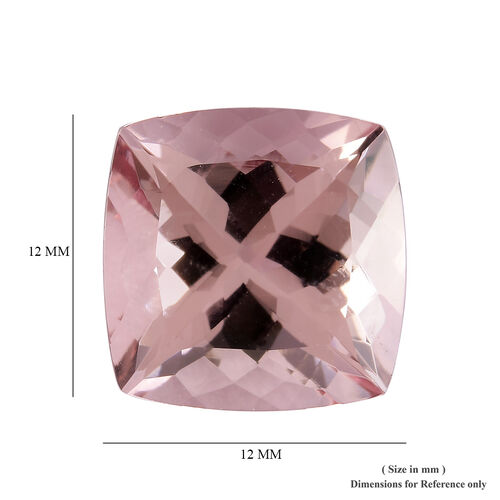 AAA Pink Morganite Cushion 12x12 Faceted 7.45 Cts