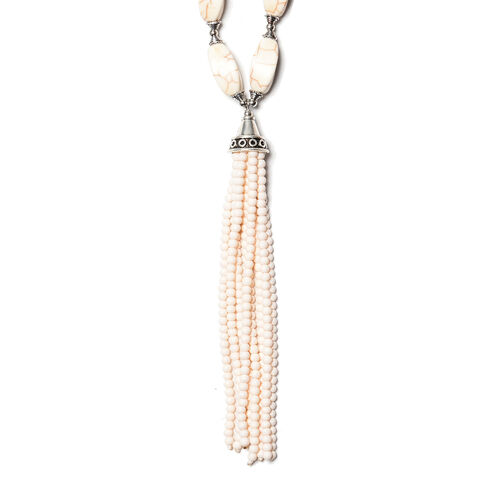 White Howlite Necklace (Size 18 with 2.5 inch Extender) in Silver Tone 252.00 Ct.
