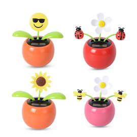 Set of 4 - Solar Dancing Flower in Orange, Pink and Red Pots (Sunflower, Smiley with Shades and Flow