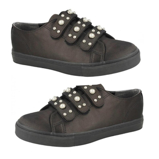 DOD - Three Strap Canvas Trainers in Black (Size 3)