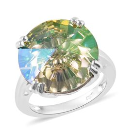 J Francis - Crystal from Swarovski Lumingreen Crystal (Rnd) Solitaire Ring in Sterling Silver