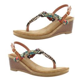 Ella Isabella Wedge Heel Sandals - Tan
