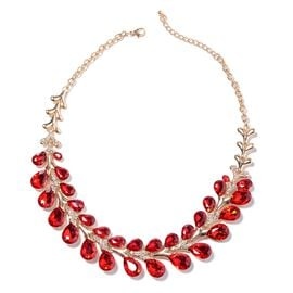 Simulated Ruby (Pear), White Austrian Crystal Necklace (Size 22 with 4 inch Extender) in Yellow Gold
