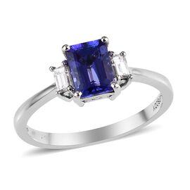 RHAPSODY 950 Platinum AAAA Tanzanite (Oct), Diamond (VS/E-F) Ring 1.25 Ct.