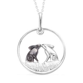 White and Black Platinum Overlay Sterling Silver Pendant With Chain (Size 20)
