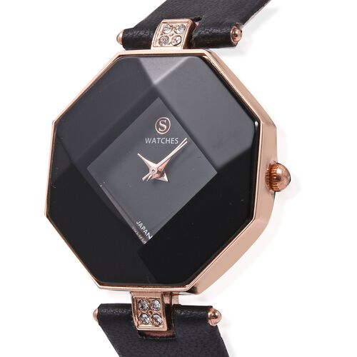 STRADA Japanese Movement White Austrian Crystal Studded Water Resistant Watch with Black Strap