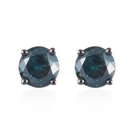9K Yellow Gold Blue Diamond (Rnd) Stud Earrings 0.66 Ct.