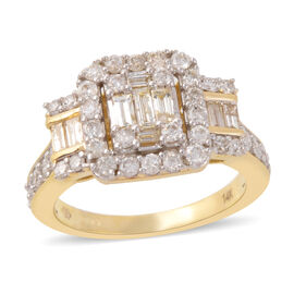 1 Carat Diamond Cluster Ring in 14K Yellow Gold 5.40 Grams I2 GH