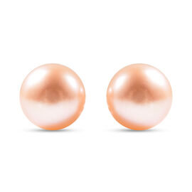 Fresh Water Peach Pearl Stud Earrings (with Push Back) in Sterling Silver
