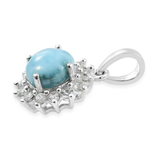 Larimar (Rnd 1.60 Ct), Natural Cambodian Zircon Pendant in Sterling Silver 2.000 Ct.