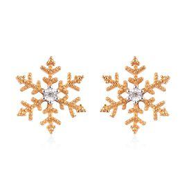 Diamond Snowflake Stud Earrings in 14K Gold Overlay Sterling Silver
