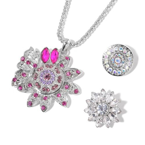 AAA Fuchsia, White and Magic Colour Austrian Crystal and Simulated Multi Gemstone Floral Pendant with Chain (Size 32 with 3 inch Extender) with 3 Interchangeable Charms in Silver Tone