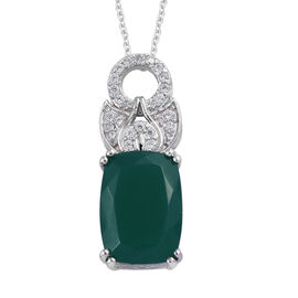 7.45 Ct Verde Onyx and Natural Cambodian Zircon Drop Pendant with Chain in Sterling Silver