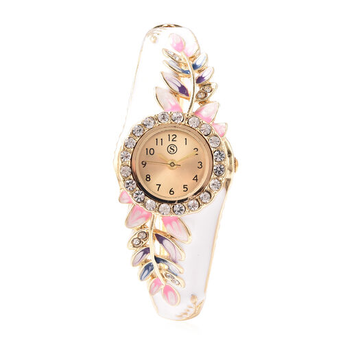 STRADA Japanese Movement White Austrian Crystal Studded Water Resistant Enamelled Leaf Pattern Bangl