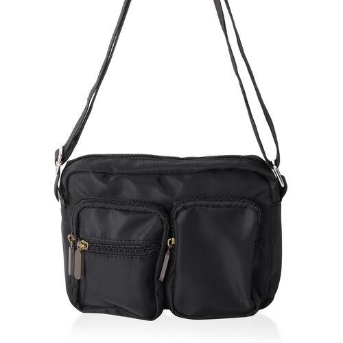Annabelle Black Colour Water Resistant Cross Body Bag with External Zipper Pockets Size 22x 17x 7 Cm