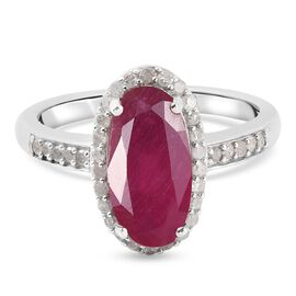 African Ruby (FF) and Diamond Ring in Platinum Overlay Sterling Silver 3.60 Ct.