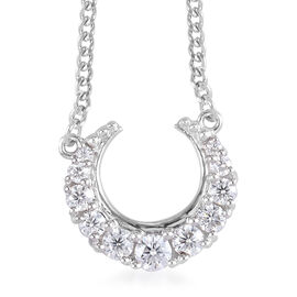 Sundays Child - Moissanite Crescent Moon Pendant with Chain (Size 18) in Platinum Overlay Sterling S